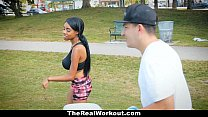 therealworkout curvy ebony rides white cock after workout